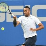 Washington, D.C, U.S: NICK KYRGIOS hits a forehand during his match at the Rock Creek Tennis Center