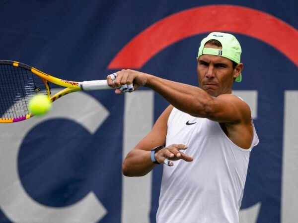 Washington, DC, USA; Rafael Nadal of Spain hits a forehand during a practice session at the Citi Open at Rock Creek Park Tennis Center