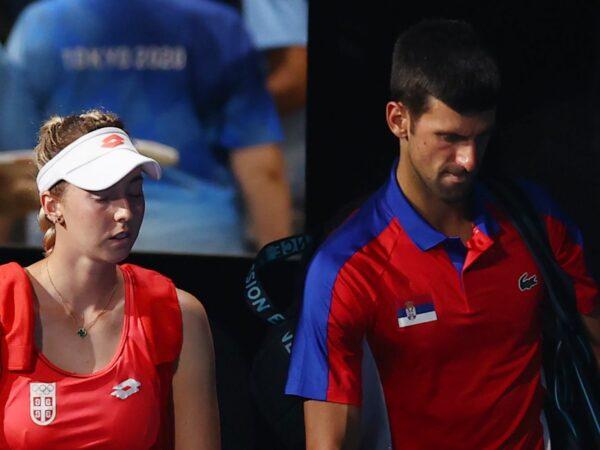 Tokyo 2020 Olympics - Nina Stojanovic of Serbia and Novak Djokovic of Serbia arrive ahead of their semifinal match