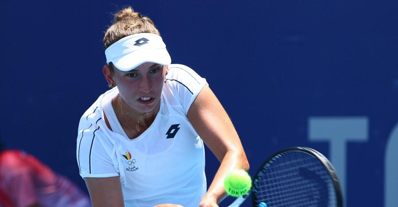 Caption: Tokyo 2020 Olympics - Tennis - Women's Singles - Round 1 - Ariake Tennis Park - Tokyo, Japan - July 25, 2021. Elise Mertens of Belgium in action