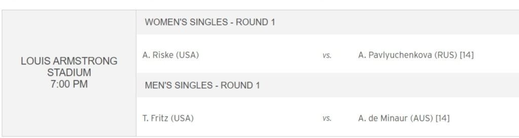 2021 US Open, Order of Play Day 2