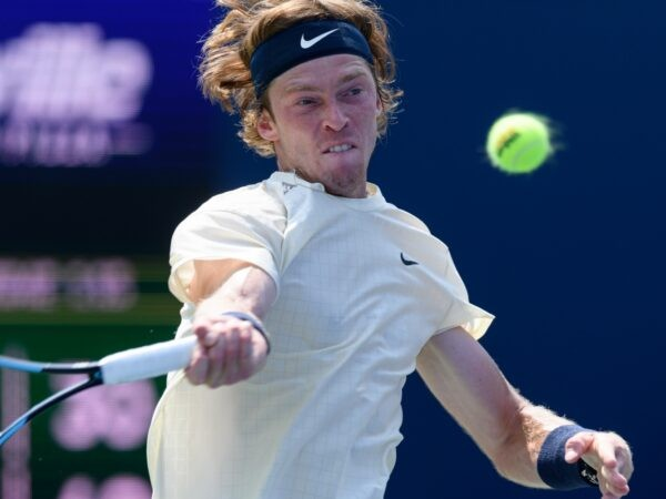 Andrey Rublev returns the ball during his National Bank Open tennis tournament second round game on August 11, 2021, at Aviva Centre in Toronto, ON, Canada.