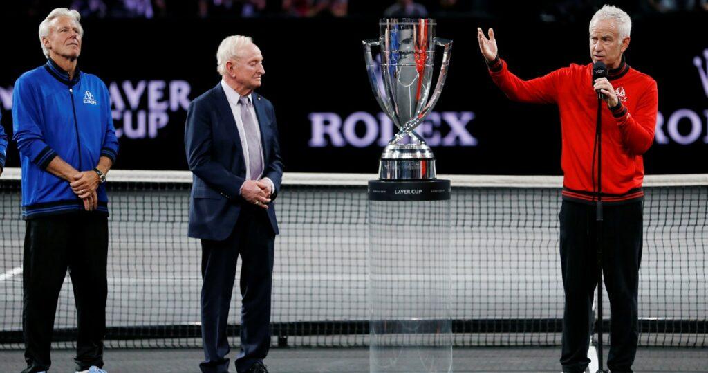 Björn Borg, Rod Laver & John McEnroe at the Laver Cup in 2019