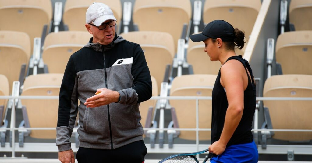 Craig Tyzzer with his player Asheigh Barty at Roland-Garros in 2021