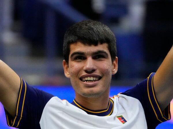 Carlos Alcaraz at the 2021 U.S. Open tennis tournament at USTA Billie King National Tennis Center.