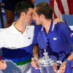 Novak Djokovic & Daniil Medvedev after the 2021 US Open Final