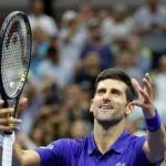 Novak Djokovic at the 2021 U.S. Open tennis tournament at USTA Billie Jean King National Tennis Center.