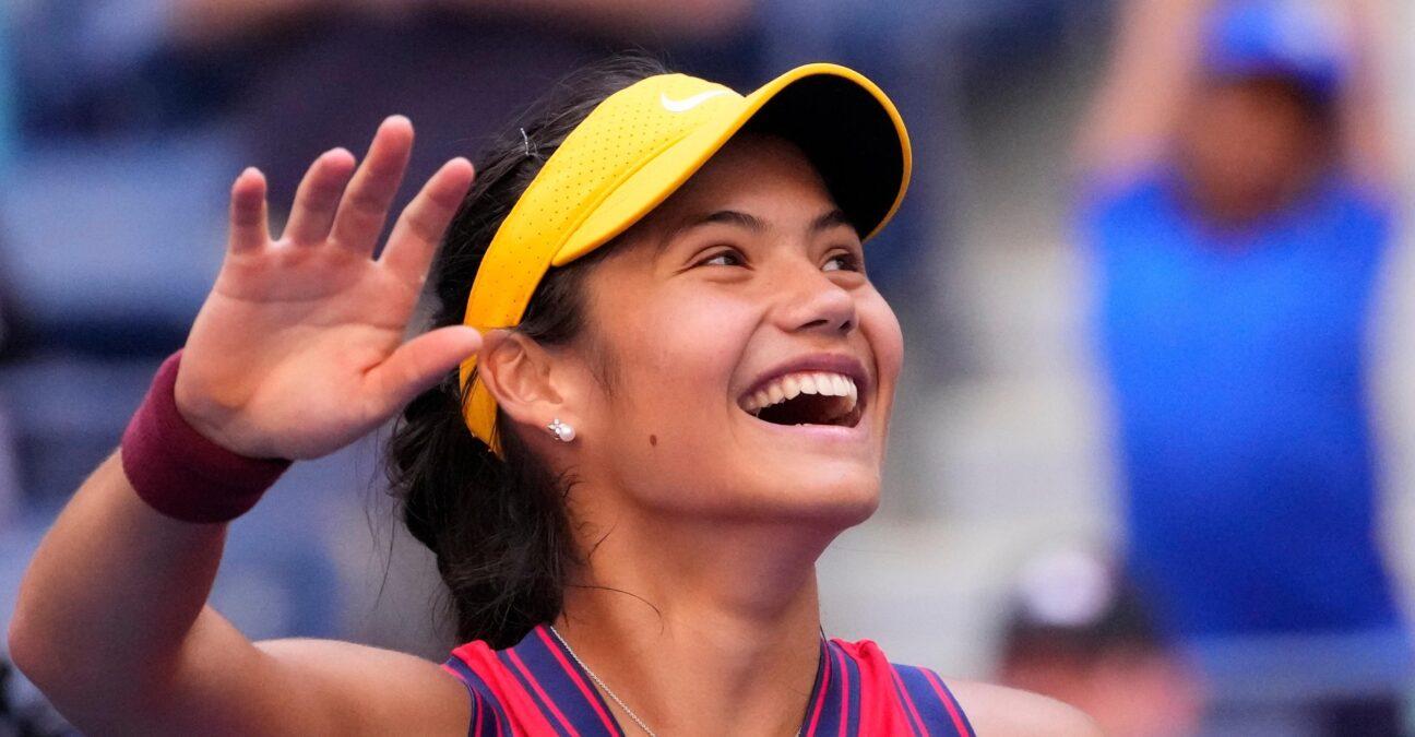 Emma Raducanu at the 2021 U.S. Open tennis tournament at USTA Billie Jean King National Tennis Center.