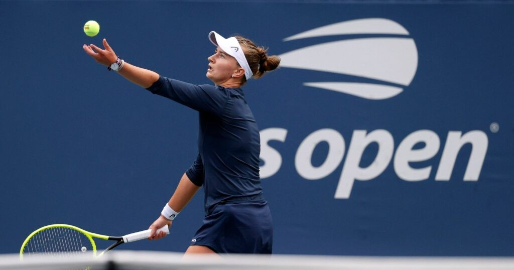 Barbora Krejcikova at the 2021 U.S. Open tennis tournament at USTA Billie Jean King National Tennis Center.