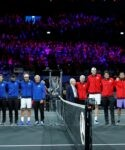 Rod Laver lines up for a photo alongside Team World players and captain John McEnroe and the Team Europe players and captain Bjorn Borg before the start of play at the 2019 Laver Cup