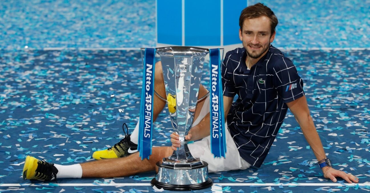 ATP Finals - The O2, London, Britain - November 22, 2020 Russia's Daniil Medvedev celebrates with the trophy after winning the final match against Austria's Dominic Thiem