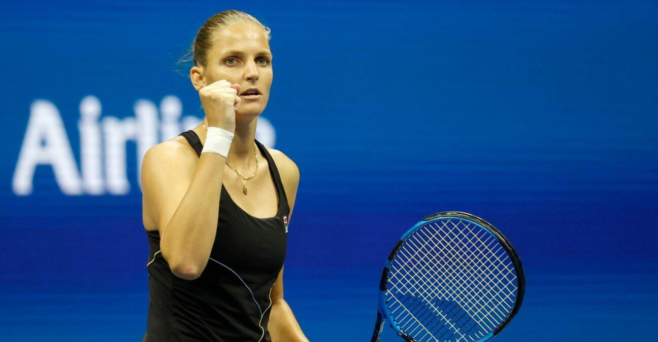 Karolina Pliskova at the 2021 U.S. Open tennis tournament at USTA Billie Jean King National Tennis Center.