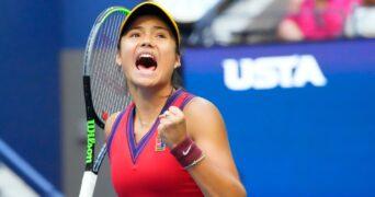Emma Raducanu at the 2021 U.S. Open tennis tournament at USTA Billie Jean King National Tennis Center
