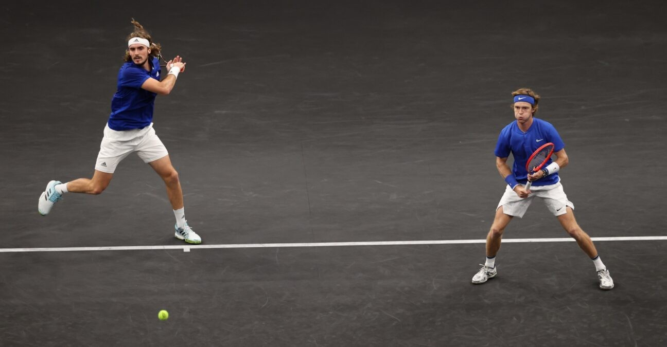 Rublev and Tsitsipas at the Laver Cup in Boston in September 2021