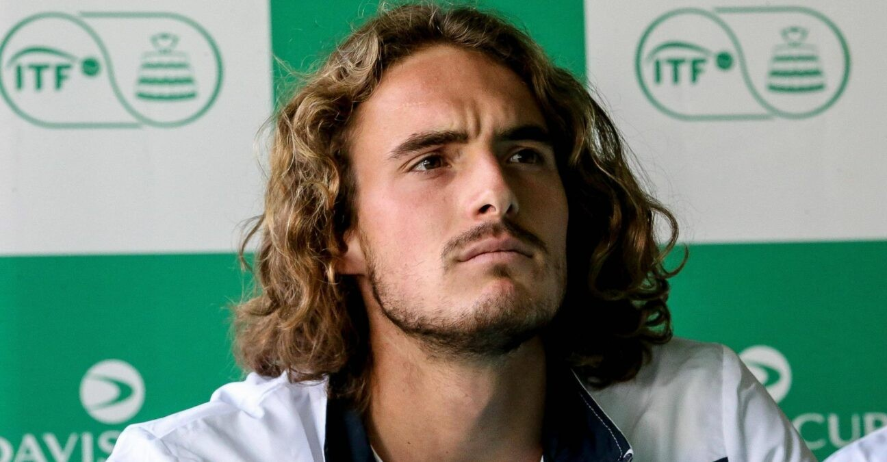 Stefanos Tsitsipas with the Greek team during the 2020 Davis Cup