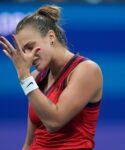 Aryna Sabalenka at the 2021 U.S. Open tennis tournament at USTA Billie Jean King National Tennis Center.