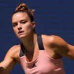 Maria Sakkari at the 2021 U.S. Open tennis tournament at USTA Billie Jean King National Tennis Center.