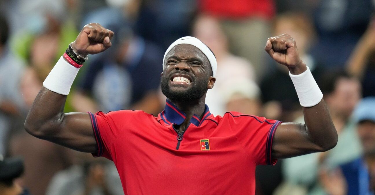 Frances Tiafoe of the United States at the 2021 U.S. Open tennis tournament at USTA Billie Jean King National Tennis Center.