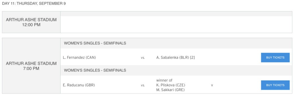 US Open Order of Play Day 11