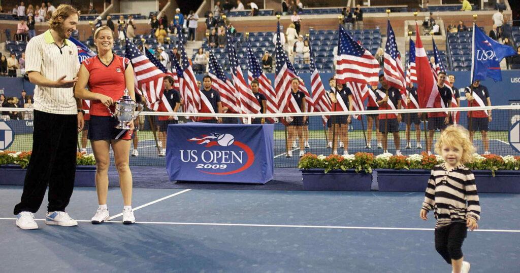 Kim Clijsters, Brian Lynch et leur fille Jada à l'US Open en 2009