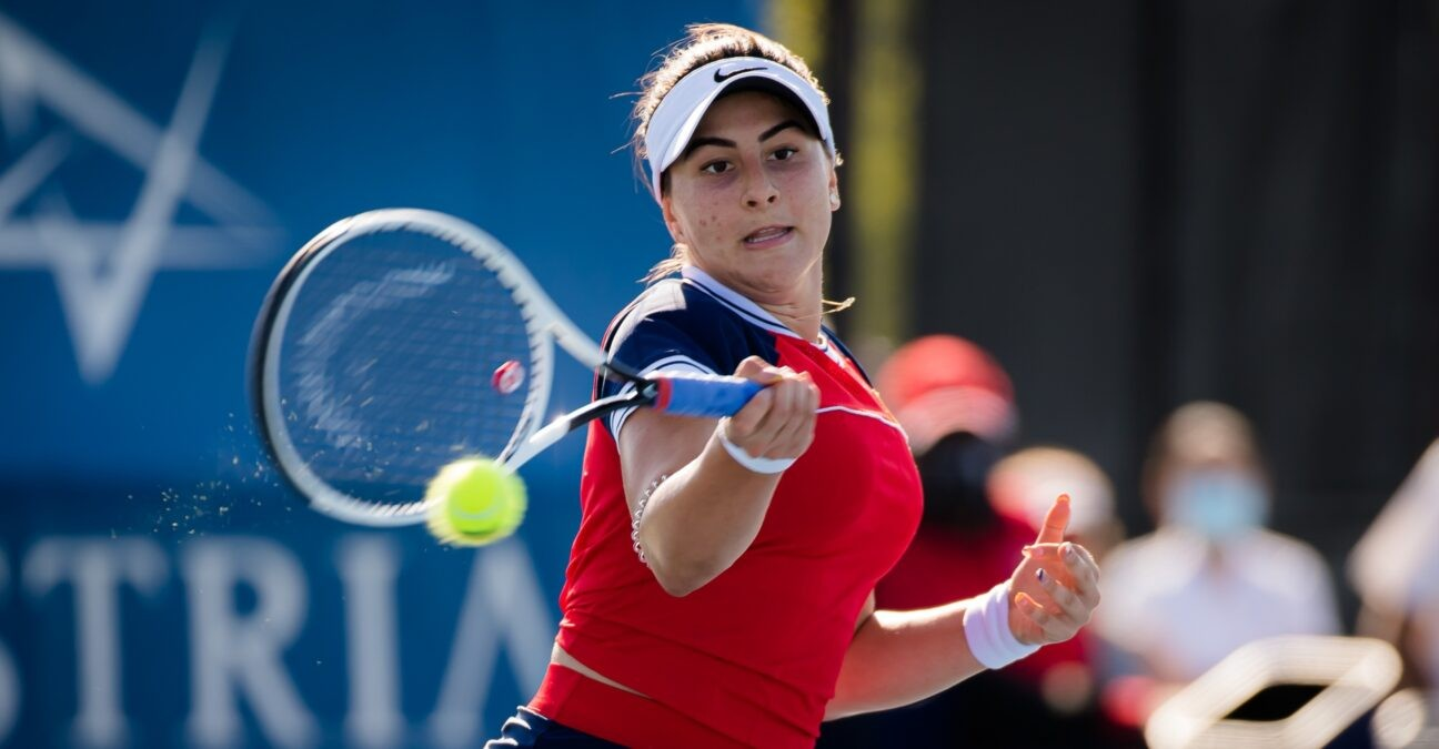 Bianca Andreescu in action during the second round of the 2021 Chicago Fall Tennis Classic WTA 500 tennis tournament