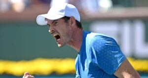 Andy Murray (GBR) reacts after winning a point during his second round match against Carlos Alcaraz (ESP) in the BNP Paribas Open at the Indian Wells Tennis Garden.