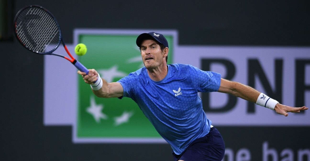 Andy Murray (GBR) hits a shot against Adrian Mannarino (FRA) at Indian Wells Tennis Garden.