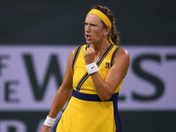 Victoria Azarenka (BLR) celebrates after winning a game against Petra Kvitova (CZE) at Indian Wells Tennis Garden.