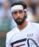 Nikoloz Basilashvili (GEO) reacts after defeating Taylor Fritz (USA) in the semifinal match at the BNP Paribas Open at the Indian Wells Tennis Garden.