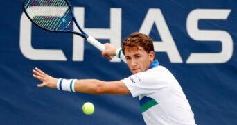 Casper Ruud at the 2021 U.S. Open tennis tournament at USTA Billie Jean King National Tennis Center.