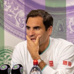 Roger Federer during a press conference after losing his quarter final match against Poland's Hubert Hurkacz at Wimbledon