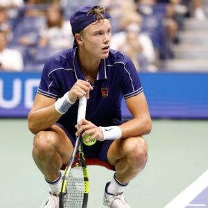Holger Rune at the 2021 U.S. Open tennis tournament at USTA Billie Jean King National Tennis Center.