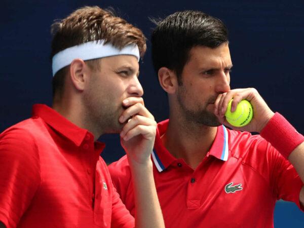 Novak Djokovic and Filip Krajinovic from team Serbia, 2021