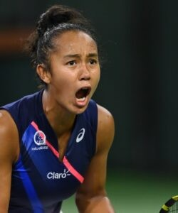 Leylah Fernandez (CAN) celebrates after defeating Anastasia Pavlyuchenkova (RUS) in the third set of her third round match in the BNP Paribas Open at the Indian Wells Tennis Garden.
