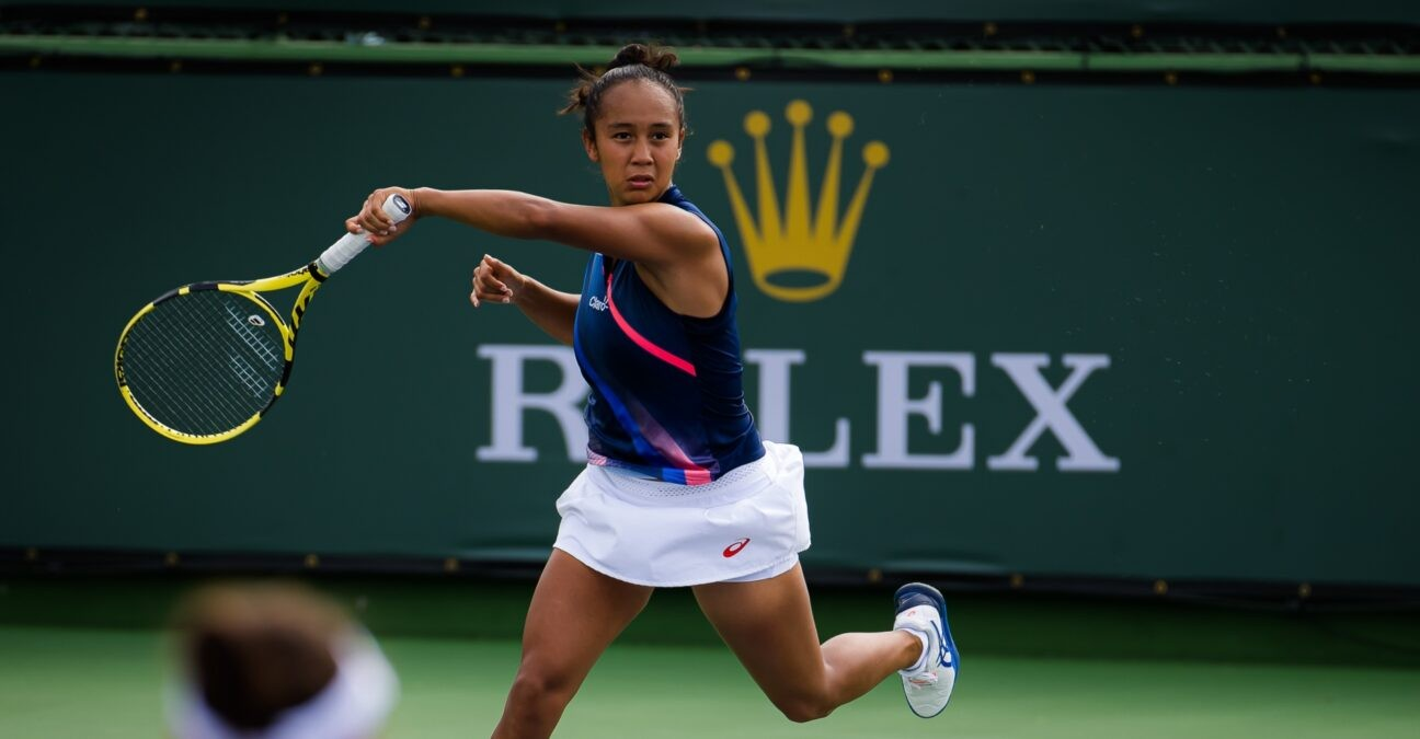 Leylah Fernandez of Canada playing doubles at the 2021 BNP Paribas Open WTA 1000 tennis tournament