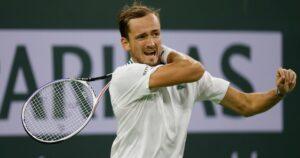 Daniil Medvedev at the 2021 BNP Paribas Open at Indian Wells Tennis Garden in Indian Wells, California