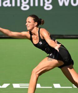 Indian Wells, CA, USA; Karolina Pliskova (CZE) hits a shot during her second round match