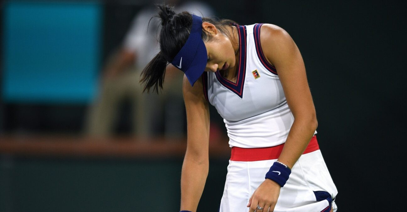 Emma Raducanu reacts after losing a point to Aliaksandra Sasnovich at the Indian Wells Tennis Garden.