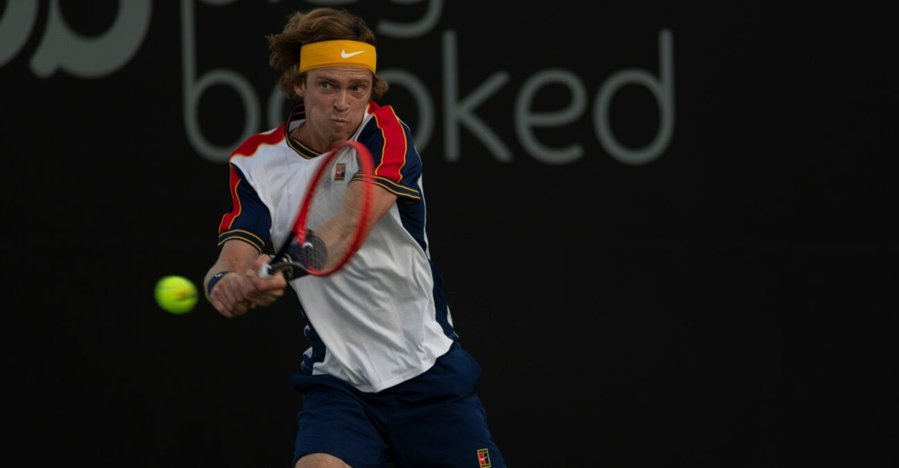Andrey Rublev at the San Diego Open tennis tournament.
