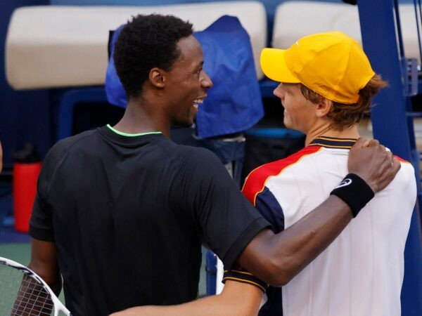 Jannik Sinner and Gael Monfils of France after their match on day six of the 2021 U.S. Open tennis tournament at USTA Billie Jean King National Tennis Center.
