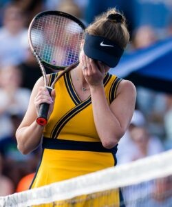Elina Svitolina of the Ukraine in action during the quarter-final of the 2021 Chicago Fall Tennis Classic WTA 500 tennis tournament against Ons Jabeur of Tunisia