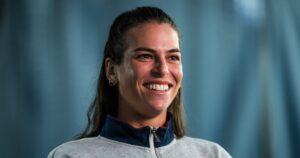 Ajla Tomljanovic of Australia talks to the media ahead of the 2021 Chicago Fall Tennis Classic WTA 500 tennis tournament