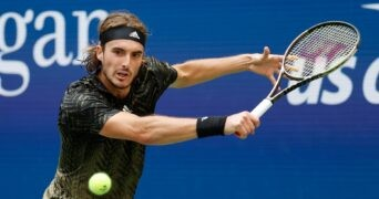 Stefanos Tsitsipas of Greece hits a shot in a third round match on day five of the 2021 U.S. Open tennis tournament at USTA Billie Jean King National Tennis Center.